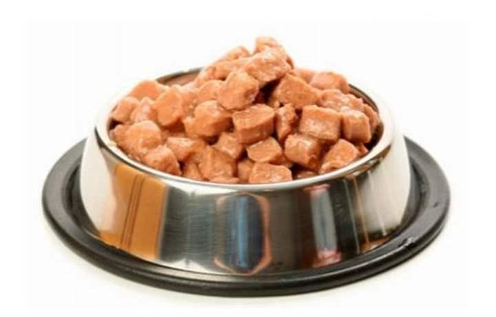 Влажный корм для кошек имеет вид аппетитных мясных или куриных кусочков