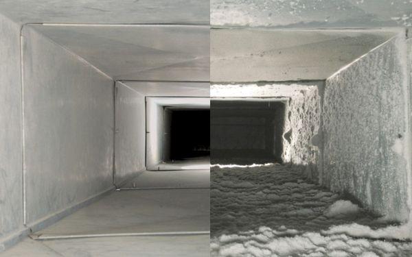 Вентиляционная система после и до очистки