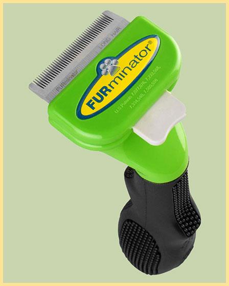 Зеленый с кнопкой фурминатор