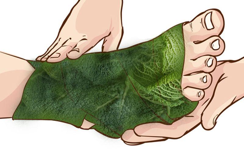 Лист капусты от болей в суставах