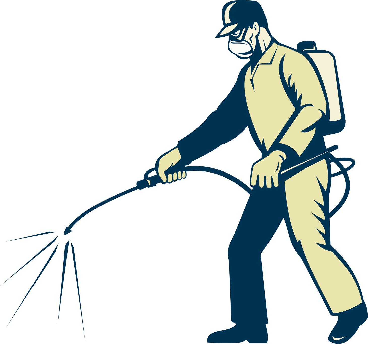 Профессиональный дезинсектор проводит работу по борьбе с тараканами