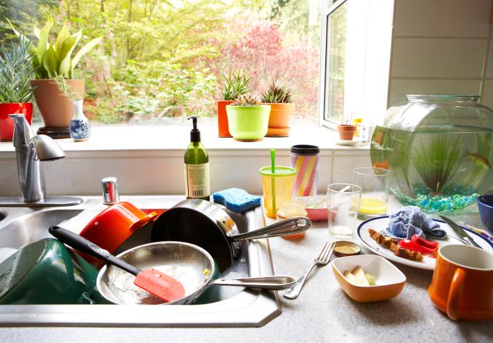 Грязная посуда - причина появления муравьев